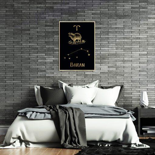 Plakat z złotym motywem zodiaku barana do sypialni