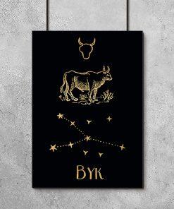 Plakat złoty z zodiakiem byka