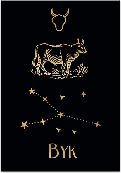 Pozłacany plakat z zodiakiem byka