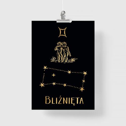 Pozłacany plakat z zodiakiem bliźniąt
