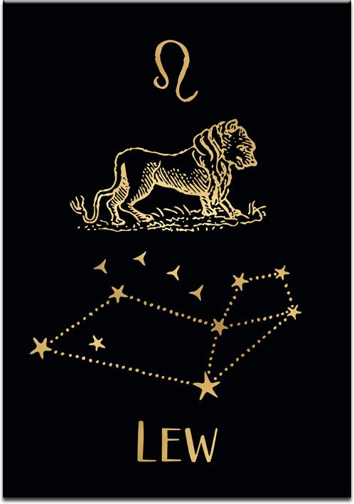 Plakat z pozłacanym zodiakiem lwa