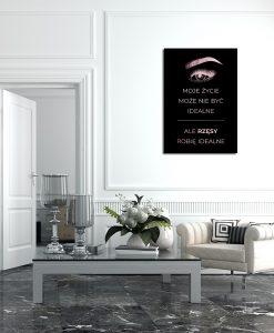 Plakat różowo-złoty do salonu