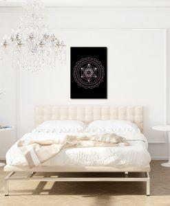 Czarny plakat z metalicznym wzorem do salonu