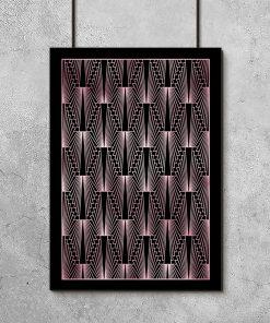 Plakat z różowo-złotym wzorem