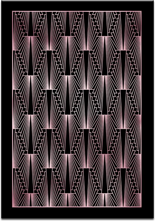 Różowo-złoty plakat w stylu art deco