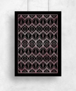 Różowo złoty plakat z geometrycznym motywem