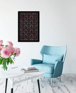 Różowo złoty plakat art deco do salonu