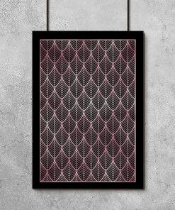 Czarny plakat z różowo-złotym wzorem