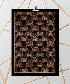 Metaliczny plakat na ścianę z abstrakcją
