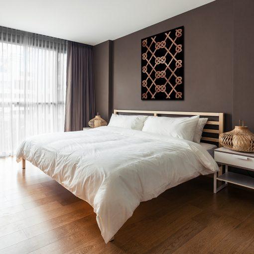 Metaliczny plakat na ścianę do sypialni