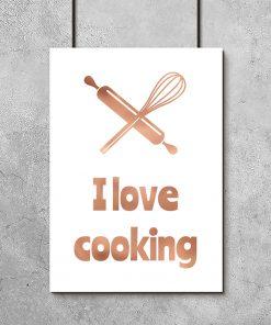 Biało-miedziany plakat do kuchni