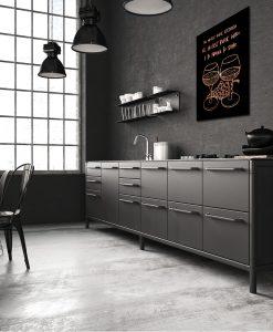 Czarno-miedziany plakat do kuchni