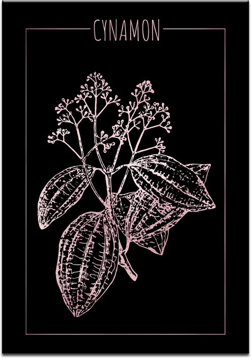 Czarny plakat z różowo-złotym motywem