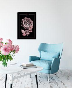 Metaliczny plakat z kwiatem do salonu