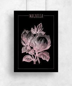 Różowo-złoty plakat z motywem magnolii