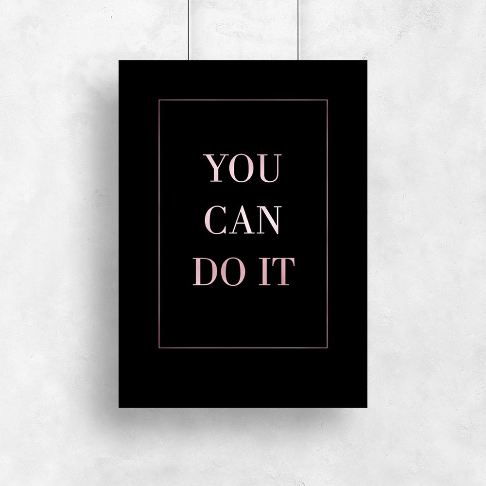 Różowo Złoty Plakat Z Napisem You Can Do It