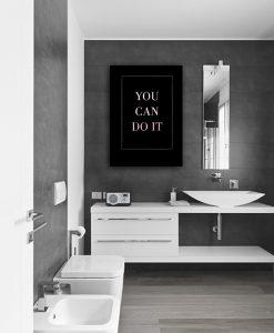 Plakat metaliczny z napisem do łazienki