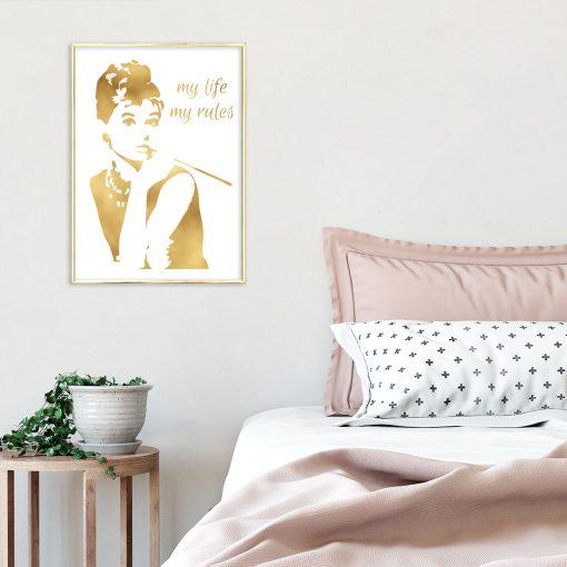 Plakat pozłacany do sypialni