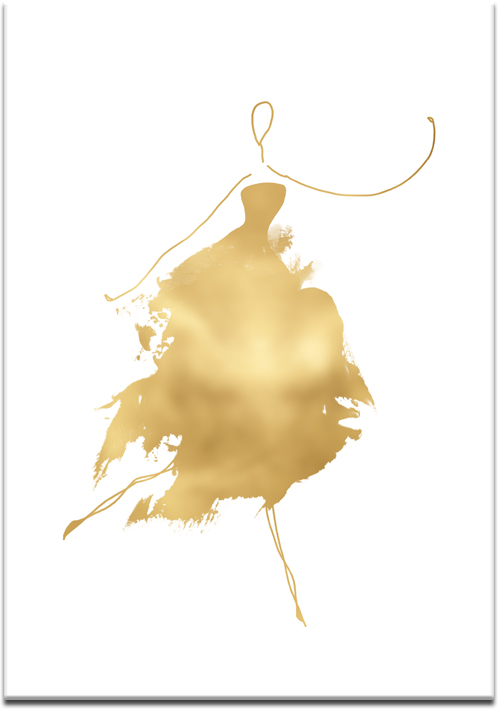 Złoty plakat z rysunkiem kobiety w sukni