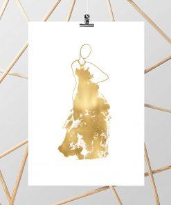 Plakat glamour w kolorze biało-złotym