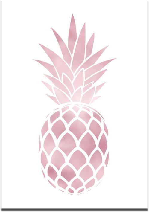 Plakat z ananasem w kolorze rose gold