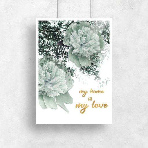 Pozłacany plakat z motywem kwiatów