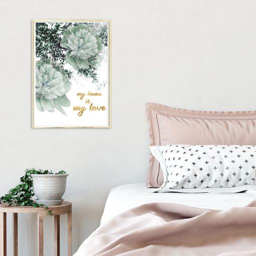 Plakat ze złotym napisem do sypialni