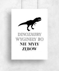 Plakat z dinozaurem do gabinetu stomatologicznego
