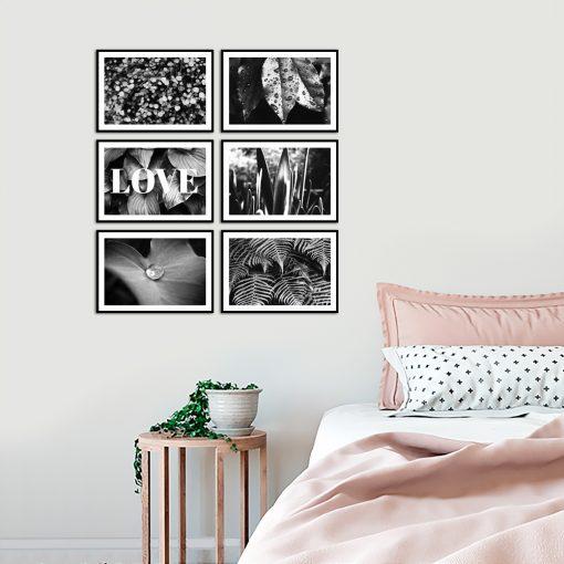 Czarno-biała galeria plakatów do sypialni