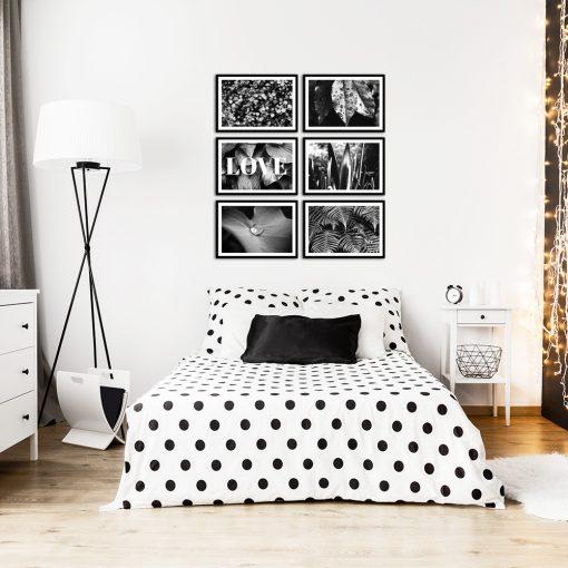 Zestaw sześciu plakatów czarno-białych do sypialni