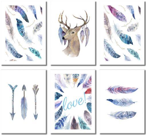Galeria sześciu plakatów z piórami i jeleniem do sypialni