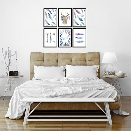 Niebieski zestaw plakatów do sypialni