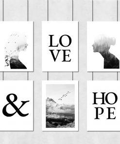 Czarno-biała galeria plakatów do salonu