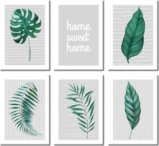 Zestaw plakatów z tropikalnymi liśćmi do salonu