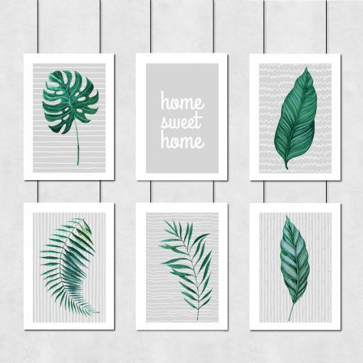 Zestaw plakatów z motywem tropikalnych liści do salonu