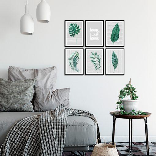 Tropikalny zestaw plakatów na ścianę do salonu