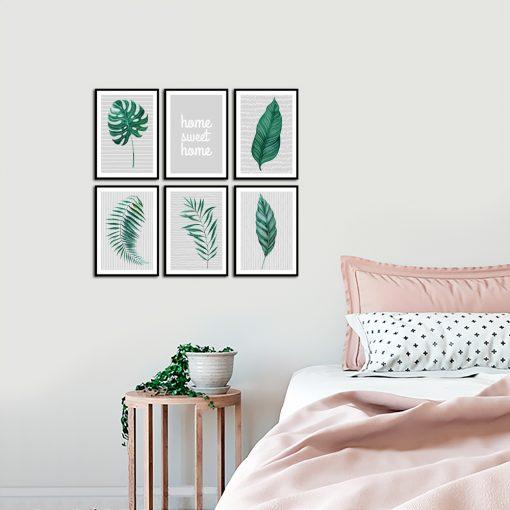 Zestaw plakatów z tropikalnym motywem do sypialni