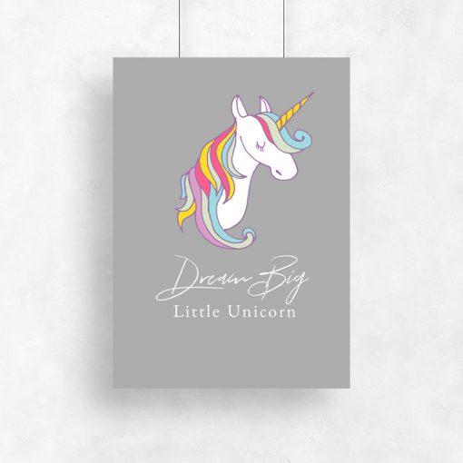 Plakat dream big little unicorn