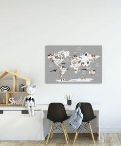 Plakat mapa ze zwierzętami na świecie