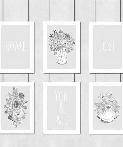 Seria plakatów z kwiatami i napisami