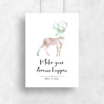 Plakat z marmurkowym jeleniem i napisem po angielsku