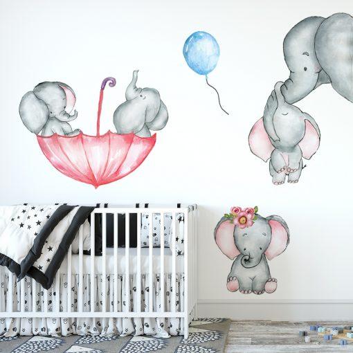 Naklejka dziecięca na ścianę z motywem słoni