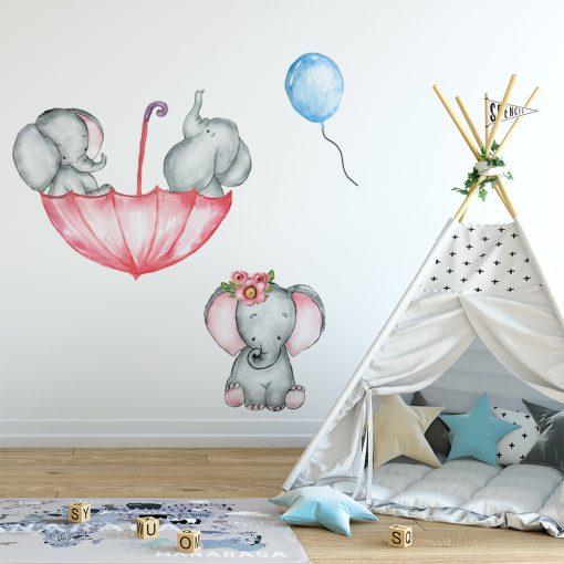 Naklejka z motywem słoni do pokoju dziecka