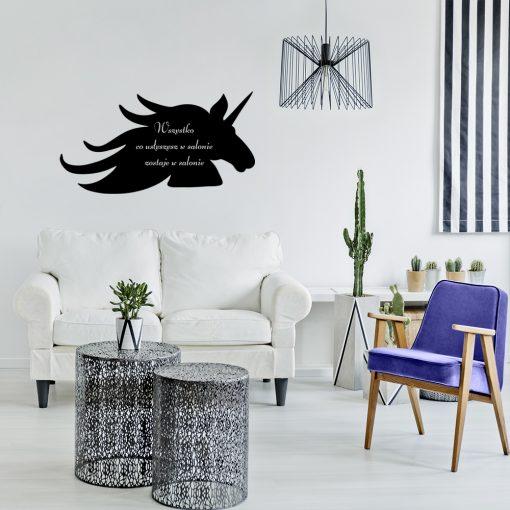 Ornament jednorożec i napis o salonie
