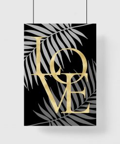 Plakat love i liście palmy