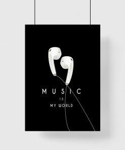 Plakat słuchawki i napis po angielsku