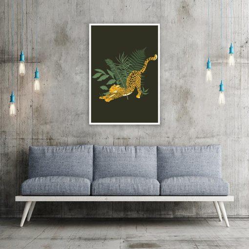 Plakat gepard i liście