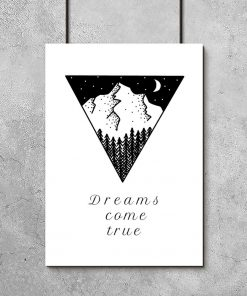 Typograficzny plakat z motywem gór