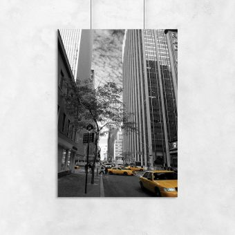 Plakat wieżowce i taksówki