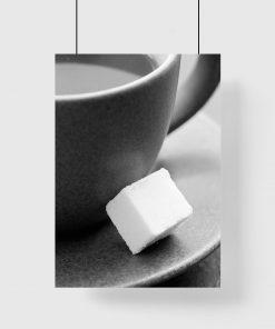 Plakat z motywem cukru i filiżanki